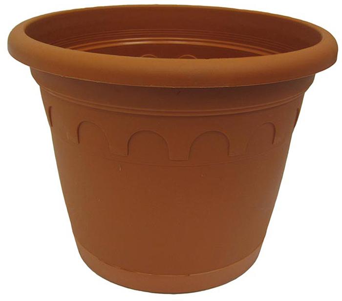 Горшок для цветов Soparco Roma, с поддоном, цвет: глина, 5,9 л704046Прекрасное решение для выращивания растений в домах, квартирах и офисах. Разная высота дренажных отверстий на дне горшка позволяет стекать лишней воде в блюдце, при этом через нижние отверстия почва увлажняется, защищая растения от пересыхания.