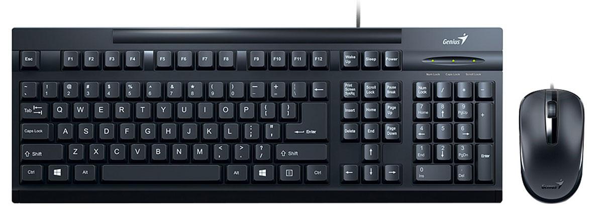 Genius KM-125, Black комплект мышь + клавиатура genius km 210 black комплект мышь клавиатура