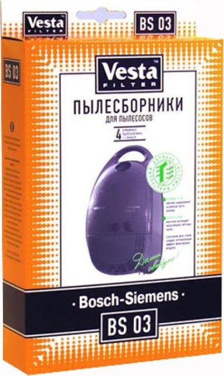 Vesta filter BS 03 комплект пылесборников, 4 шт + фильтр topperr bs 3 фильтр для пылесосов bosch siemens 4 шт