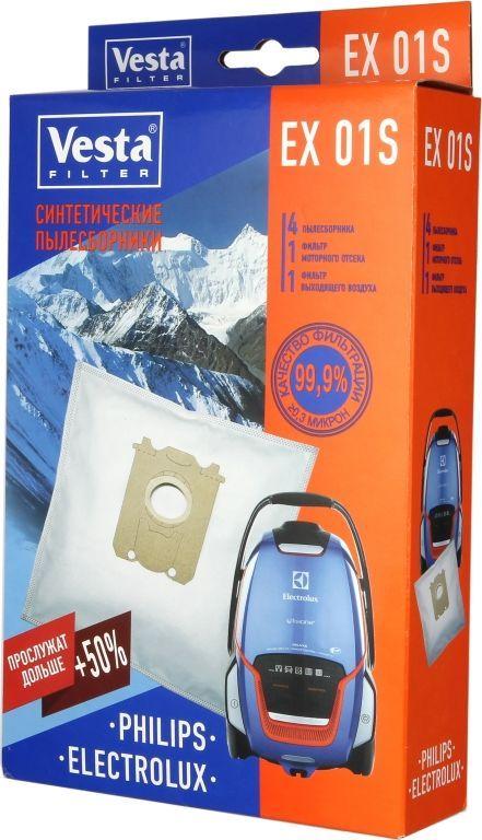 Vesta filter EX 01 S комплект пылесборников, 4 шт + 2 фильтра40576Пылесборники из синтетического микроволокна (4 шт. + 2 фильтра) для пылесосовElectrolux / Philips / BORK Тип оригинального пылесборника: S-Bag
