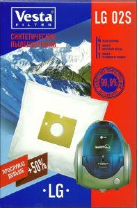 Vesta filter LG 02 S комплект пылесборников, 4 шт + 2 фильтра40579Пылесборники из синтетического микроволокна (4 шт. + 2 фильтра) для пылесосов : LG Electronics: Magic, Storm Extra, Turbo Gamma, Turbo Storm, Turbo Max / Clatronic: / Karcher: / Rolsen: / Vigor: / Viconte: /…