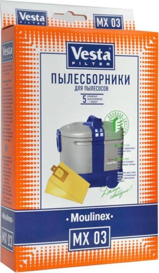 Vesta filter MX 03 комплект пылесборников, 5 шт + фильтр40629Пылесборники бумажные (5 шт. + фильтр) для пылесосов: Moulinex: Power Jet, Vario, Trio, Super Trio, Super Trio Luxe, Bidon 3 in 1