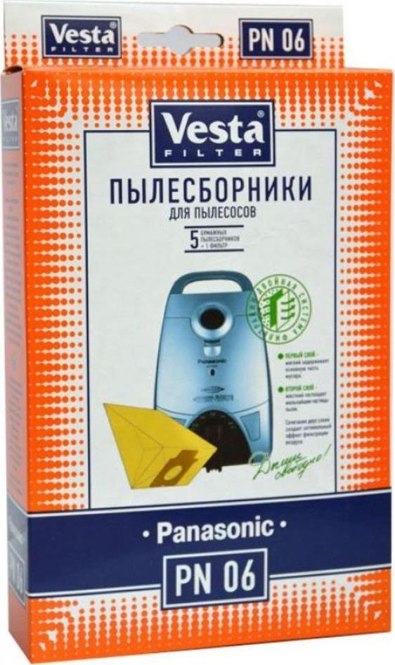 Vesta filter PN 06 комплект пылесборников, 5 шт + фильтр 2pcs vacuum cleaner bag hepa filter dust bags cleaner bags replacement for panasonic mc cg465 mc cg661 mc cg663 mc cg665