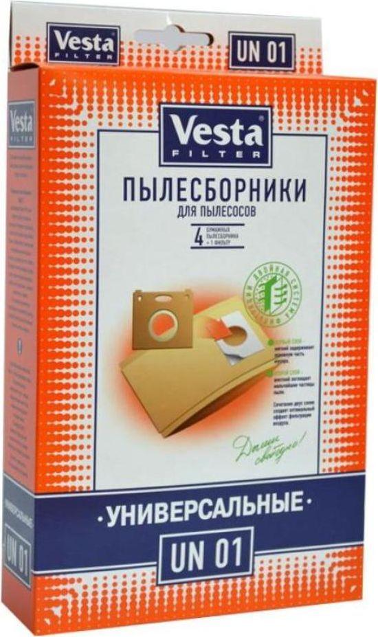 Vesta filter UN 01 комплект пылесборников универсальный, 4 шт40633УНИВЕРСАЛЬНЫЕ бумажные ПЫЛЕСБОРНИКИ ДЛЯ ВСЕХ ПЫЛЕСОСОВ (4 шт.) (необходимо сохранить картонный или пластиковый фланец от старого пылесборника)