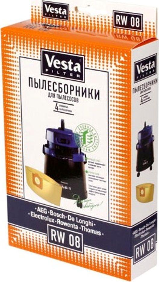 Vesta filter RW 08 комплект пылесборников, 4 шт41165Пылесборники бумажные (4шт.) для пылесосов:Rowenta: Turbo Bully, Clean Wash, Collecto, Enduro, Hobby Vac 1000, Multicraft, Super Bully 5 in 1, Vorace … / AEG: / Bosch: / Bork: /Conti: / De-longhi: / Electrolux: / Eta: / Hitachi: / Hoover: / Karcher: / Siemens: / Thomas: / …, Бытовые моющие пылесосы круглой формы.