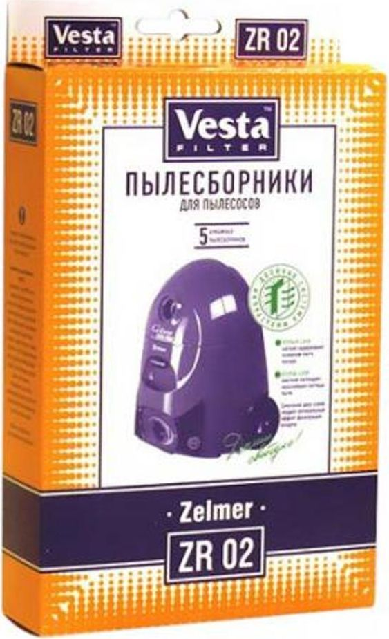 Vesta filter ZR 02 комплект пылесборников, 5 шт58352Пылесборники бумажные (5 шт.) для пылесосов:Zelmer: Cobra, Elf, FlipWondik, Duo, Duo Plus, Aeromaster,Aeroplus, Aerosystem, Marly Gigant, Super.
