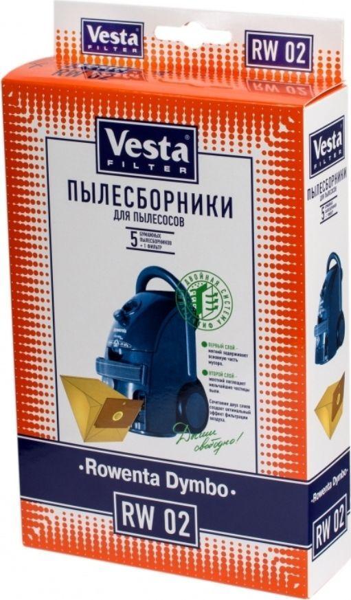 Vesta filter RW 02 комплект пылесборников, 5 шт62420Пылесборники бумажные (5 шт. + фильтр) для пылесосов: Rowenta: Dymbo RS005-099, RS 0…, Compact, 1300W, Revo