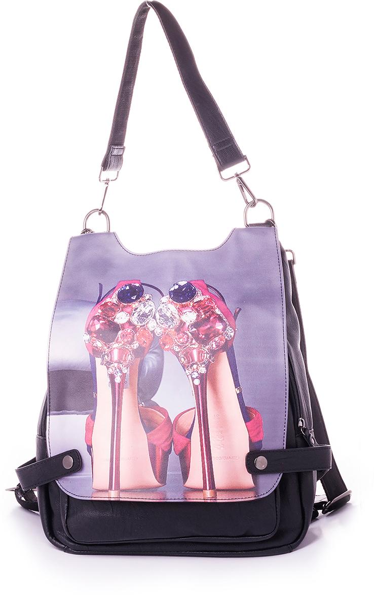 Рюкзак женский Baggini, цвет: черный. 29718-429718-4Женский рюкзак выполнен из искусственной кожи, имеет одно внутреннее отделение.