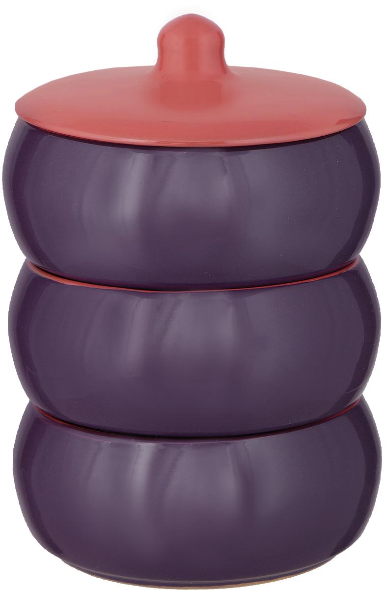 """Набор столовой посуды Борисовская керамика """"Русский"""", цвет: фиолетовый, красный, 4 предмета"""