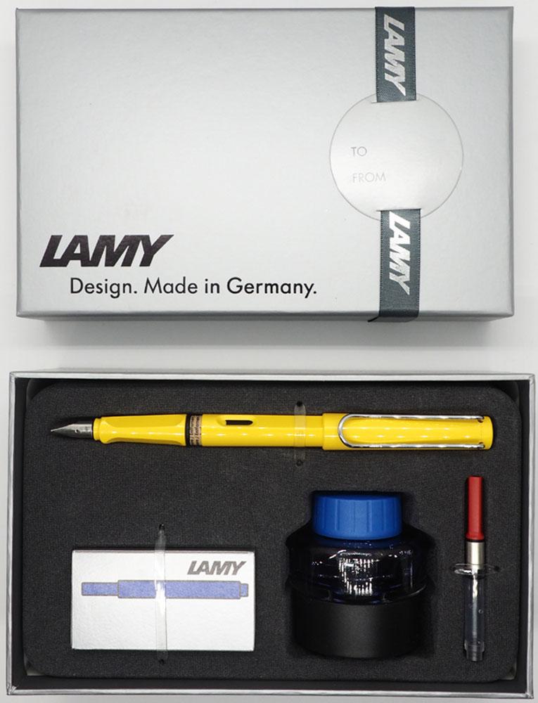 Lamy Набор: ручка перьевая Safari цвет корпуса желтый + картридж + чернила + конвертер