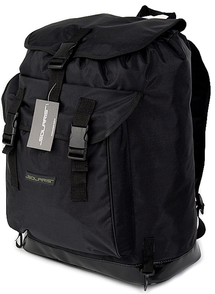 Рюкзак туристический Solaris, цвет: черный, 40 лS5303Рюкзак Solaris классического дизайна, идеально подойдёт для поездок на охоту и рыбалку, пикников, командировок, автопутешествий. Благодаря достаточно компакнтым размерам рюкзак можно использовать и для городских поездок на каждый день. Рюкзак имеет 2 отделения: основное отделение и задний карман. Основное отделение имеет двойной клапан для лучшей защиты от погодных факторов: утягивающаяся с помощью шнура горловина и верхний клапан с пряжкой-замком.Быстрый доступ к вещам в заднем кармане рюкзака также обеспечивают пряжки-замки. Два пластиковых карабина по бокам от заднего кармана - для крепления дополнительного снаряжения: котелка, иснтрументов, запасного ножа или мачете, пакетов с пищей или мелкими вещами и т.п. Общий объём рюкзака 40 литров, размеры 360 х 200 х 560 мм. Верх рюкзака выполнен из высококачественной армированной непромокаемой ткани Stone Washed (жатка), состав полиэстер/ПВХ. Свойства ткани: прочность, износоустойчивость, морозостойкость, не деформируется при использовании. Днище рюкзака сделано из высокопрочной водонепроницаемой тентовой ткани, что обеспечивает дополнительную защиту от повреждений - из такой ткани изготавливают тенты грузовиков. Используется лёгкая и прочная пластиковая фурнитура (материал - ацеталь).