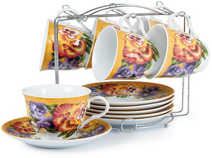 Набор чайный Olaff Metal Stand, 12 предметов. CM-F12MS-018CM-F12MS-018METAL STAND, набор чайный (12) 6 чашек 250мл + 6 блюдец на метал.стенде, подарочная упаковка