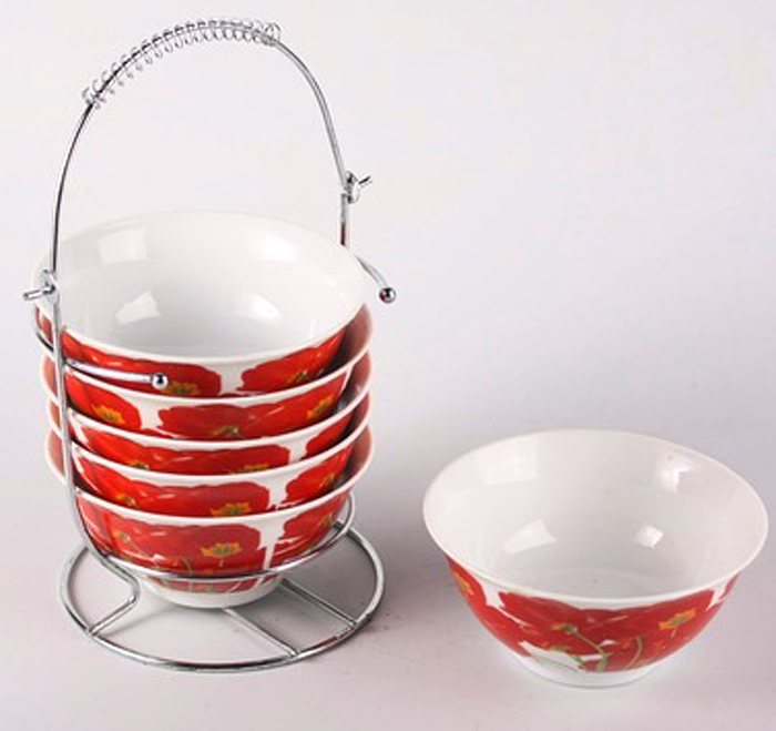 Набор салатников Olaff Bowl Set, 6 предметов. DL-BS6MS-146DL-BS6MS-146BOWL SET, набор (6) 6 салатников 300мл на метал.стенде, подарочная упаковка