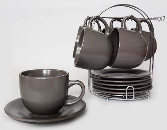 Набор чайный Elrington Моно, 12 предметов. JNX-SO-10590DJNX-SO-10590DМОНО. Коричневый, набор чайный (12) 6 чашек 220мм + 6 блюдец, упаковка - цвет.бокс