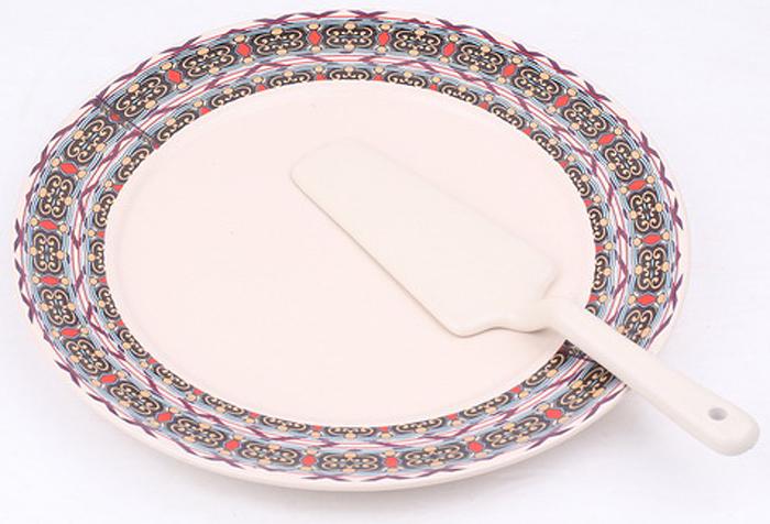 Набор для торта Olaff, 2 предмета. KR-SCP011-1056CKR-SCP011-1056CCAKE 2, набор д/торта (2) блюдо 255мм + лопатка, декор - золото-серебро, подарочная упаковка