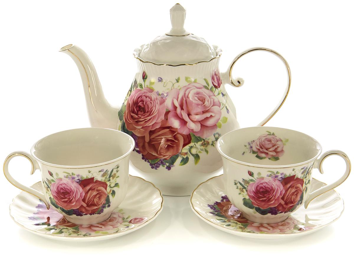 Набор чайный Olaff Розы, 13 предметов. XX-13Y-BLW-C4792XX-13Y-BLW-C4792РОЗЫ, набор чайный (13) 6 чашек 250мл + 6 блюдец+ чайник 1250мл, декор цветочный с золотом, квадратная подарочная упаковка