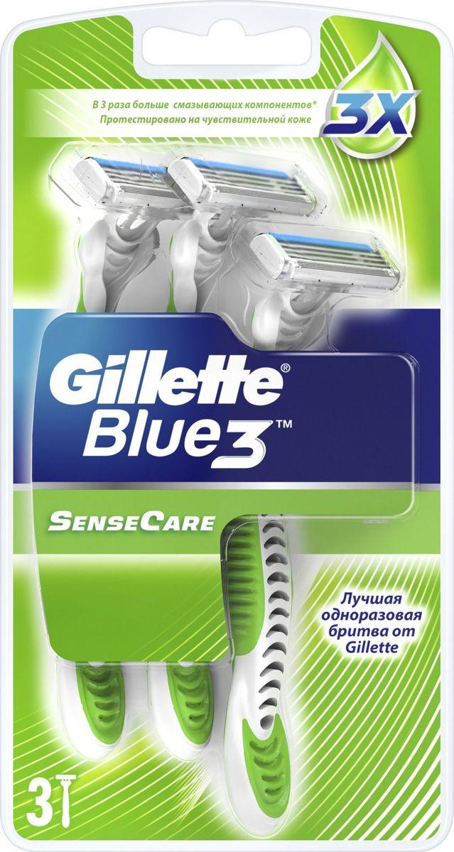 Gillette Blue 3 Одноразовые бритвы для чувствительной кожи, 3шт