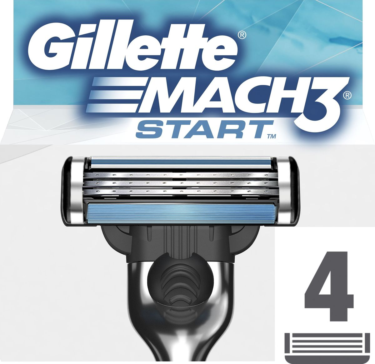 Gillette Mach 3 Start Сменные кассеты для бритвы, 4 шт cменные кассеты для бритья mach 3 gillette 4 шт