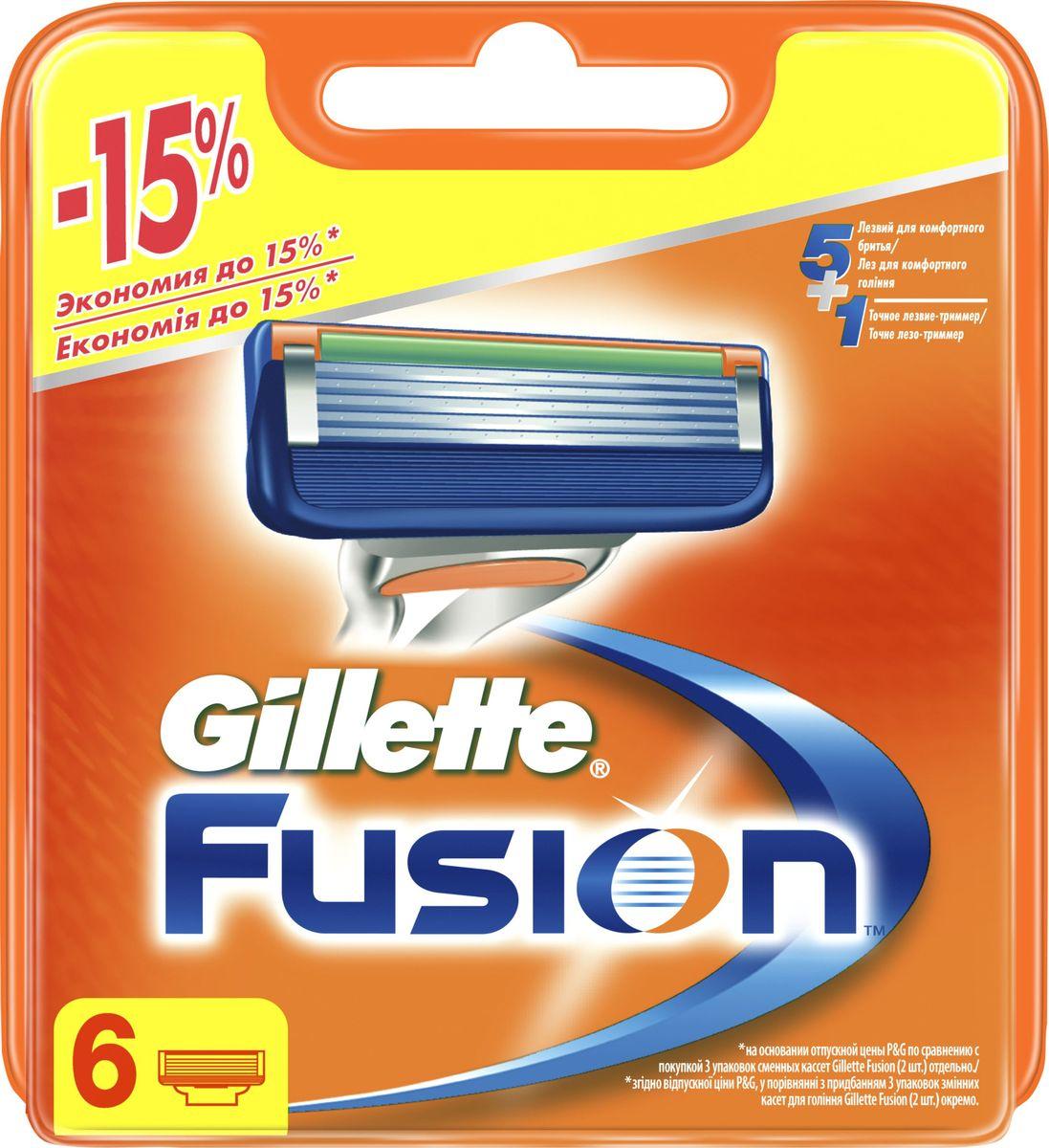 Gillette Fusion Сменные кассеты для мужской бритвы, 6 штGIL-81658791Каждая из сменных кассет для бритвы Gillette Fusion имеет 5 точных лезвий, расположенных ближе друг к другу (в сравнении с Mach 3), для бритья с невероятным комфортом и меньшим раздражением. На обратной стороне каждой кассеты есть точный триммер, помогающий придавать четкий контур в труднодоступных местах, в том числе на бакенбардах и участках кожи над верхней губой. Одной сменной кассеты хватает на один месяц бритья. Эти сменные кассеты Fusion подходят к любой ручке бритвы Fusion.