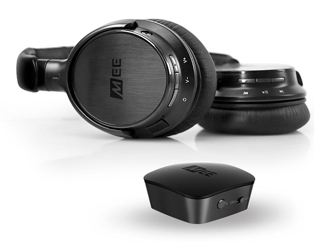 MEE Audiо T1H1, Black беспроводные наушникиCMB-T1H1-MEEMEE audio CONNECT T1H1 Комплект передатчика и беспроводных наушников для ТВ Беспроводная система наушников MEE Audiо Connect подключается к любому телевизору через аналоговые или цифровые аудиовходы и передает высококачественный цифровой звук до двух наушников или динамиков Bluetooth одновременно для максимальной музыки и фильмов.Включает в себя соединительный Bluetooth-аудио-передатчик и Bluetooth-наушники MEE Audiо Venture2 Bluetooth Позволяет телевизорам передавать звук высокой четкости по беспроводной сети до двух Bluetooth-наушников или динамиков Особенности аналоговых и цифровых входов для универсальной совместимости с телевизорами и другими устройствами 3 способа подключения телевизора - 3,5-мм разъем для наушников, RCA или оптический TOSLINK S / PDIF Компактная и портативная конструкция со встроенными батареями для использования на ходуБЕСПРОВОДНОЙ HD-ЗВУК ДЛЯ ВАШЕГО ТВ Беспроводная система наушников MEE audio Connect Bluetooth позволяет телевизорам и другим устройствам беспрерывно передавать высококачественные цифровые аудиосигналы на наушники и динамики Bluetooth для достижения максимального качества музыки и фильмов.ЦИФРОВОЕ И АНАЛОГОВОЕ ПОДКЛЮЧЕНИЕ Connect предлагает аналоговые и цифровые аудиовходы для обеспечения максимальной совместимости со старыми и новыми телевизорами, а также с любыми другими устройствами с оптическим (TOSLINK S / PDIF), RCA или 3,5-миллиметровым аудиовыходом - компьютерами, планшетами, цифровыми потоковыми вещами (включая Apple TV и Amazon Fire TV) и многое другое.ДВОЙНОЙ ПОТОК ПЕРЕДАЧИ ПО BLUETOOTH Поддержка потока аудио до двух Bluetooth-наушников или колонок одновременно, регулировка уровня громкости для каждого отдельно, что позволяет пользователям комфортно слушать, не беспокоя друг друга или окружающих.BLUETOOTH 4.0 Благодаря беспроводной технологии Bluetooth 4.0, Connect передает чистый, без искажений, цифровой звук в наушники, динамики и другие приемники на расстоянии