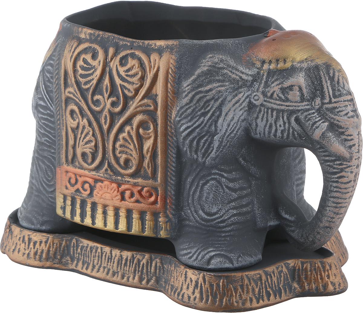 Кашпо Керамика ручной работы Слоник, цвет: серый, золотой , 1,8 л ручной маслонагнетатель ёмкостью 16 л lubeworks 17211008