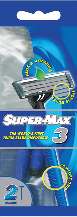Super-Max 3Одноразовые станки с тройным лезвием, 2 шт Super-Max 3Одноразовые станки с тройным лезвием 2...