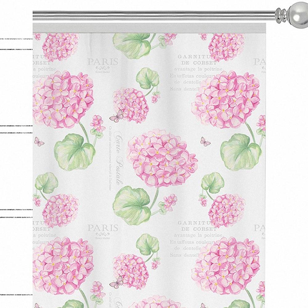 """Изящная штора для гостиной Apolena """"Розовая гортензия"""" выполнена из хлопка. Приятная текстура и цвет привлекут к себе внимание и органично впишутся в интерьер помещения. Штора крепится на карниз при помощи ленты, которая поможет красиво и равномерно задрапировать верх."""