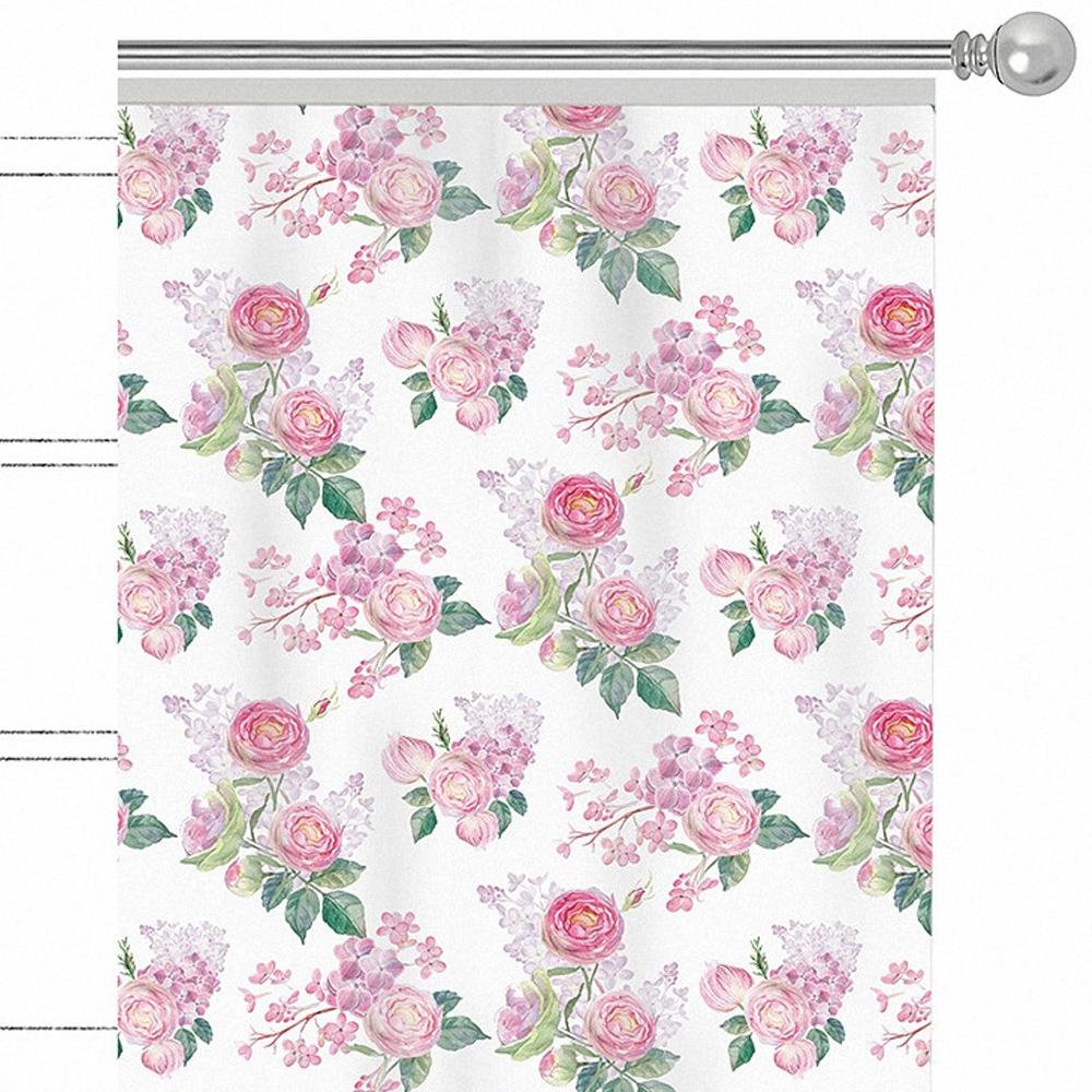 Штора Apolena Roses Forever, на ленте, цвет: розовый, высота 270 см. P508-8365/2