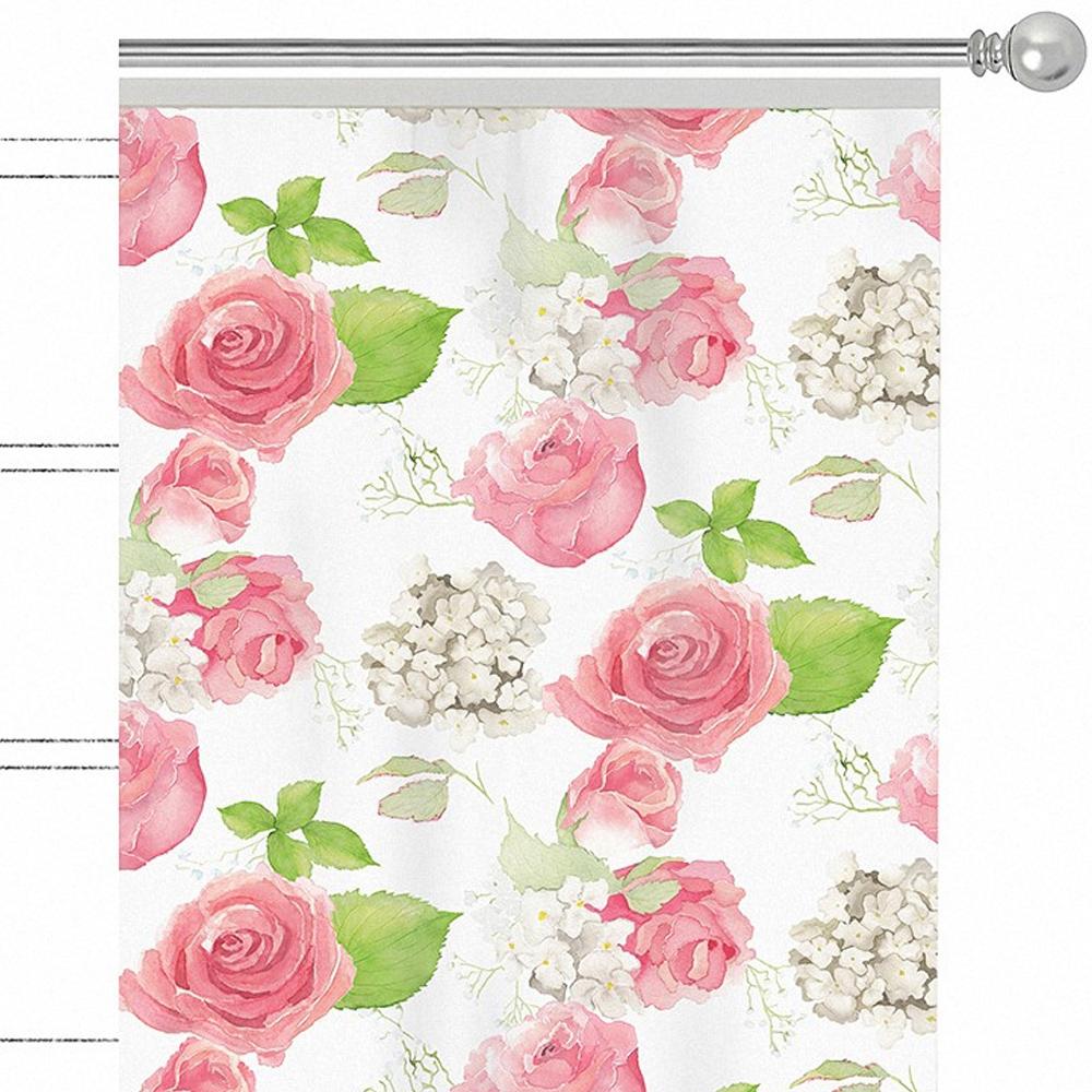 """Штора Apolena """"Hydrangea"""", на ленте, цвет: розовый, высота 270 см. P508-8276/1"""