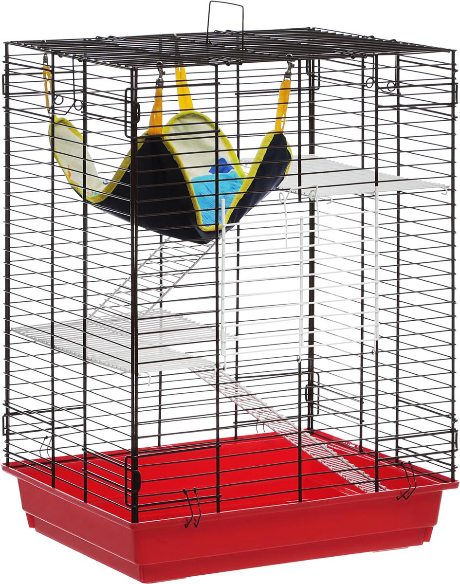 Клетка для шиншилл и хорьков  ЗооМарк , цвет: красный поддон, коричневая решетка, 59 х 41 х 79 см - Клетки, вольеры, будки