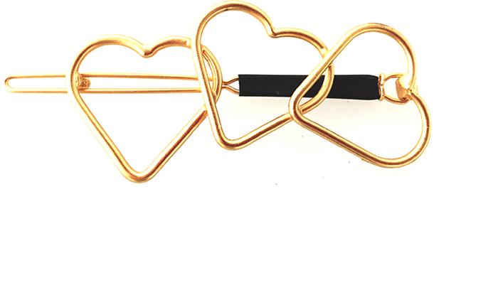 Заколка для волос Bradex Сердечки, цвет: золотой. AS 0182 ez combs заколка изи комбс одинарная цвет коричневый зио сердечки