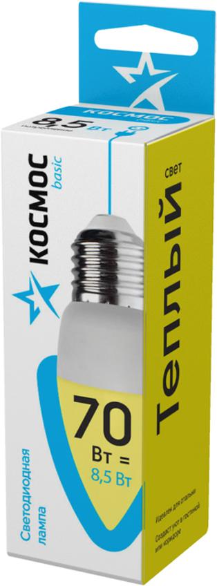 Декоративная светодиодная лампа-свеча 8.5 Вт серии Космос BASIC является аналогом лампы накаливания 70 Вт. В основе лампы используются чипы от мирового лидера Epistar, что обеспечивает надежную и стабильную работу в течение всего срока службы (25 000 часов). До 90% экономии энергии по сравнению с обычной лампой накаливания (сопоставимы по размеру); стабильный световой поток в течение всего срока службы; экологическая безопасность (не содержит ртути и тяжелых металлов); мягкое и равномерное распределение света повышает зрительный комфорт и снижает утомляемость глаз; благодаря высокому индексу цветопередачи свет лампы комфортен и передает естественные цвета и оттенки; инструкция по эксплуатации и гарантийный талон - в комплекте.