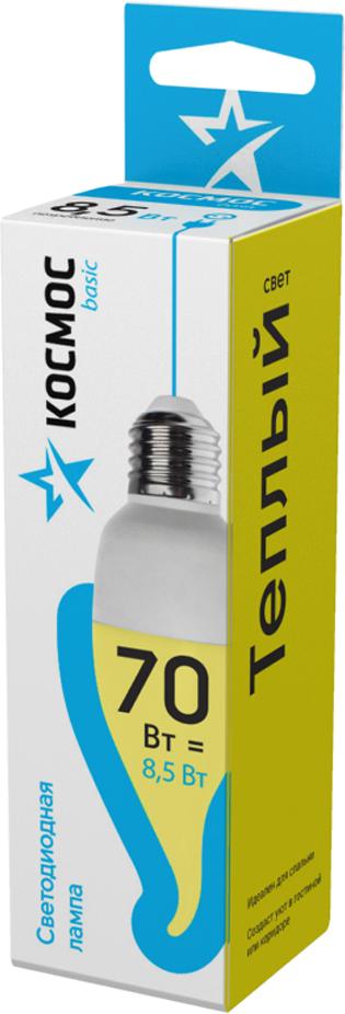 Лампа светодиодная Космос Свеча на ветру, 220V, теплый свет, цоколь E27, 8.5WLkecLED8.5wCWE2730Декоративная светодиодная лампа-свеча на ветру 8.5 Вт серии Космос BASIC является аналогом лампы накаливания 70 Вт. В основе лампы используются чипы от мирового лидера Epistar, что обеспечивает надежную и стабильную работу в течение всего срока службы (25 000 часов). До 90% экономии энергии по сравнению с обычной лампой накаливания (сопоставимы по размеру); стабильный световой поток в течение всего срока службы; экологическая безопасность (не содержит ртути и тяжелых металлов); мягкое и равномерное распределение света повышает зрительный комфорт и снижает утомляемость глаз; благодаря высокому индексу цветопередачи свет лампы комфортен и передает естественные цвета и оттенки; инструкция по эксплуатации и гарантийный талон - в комплекте.