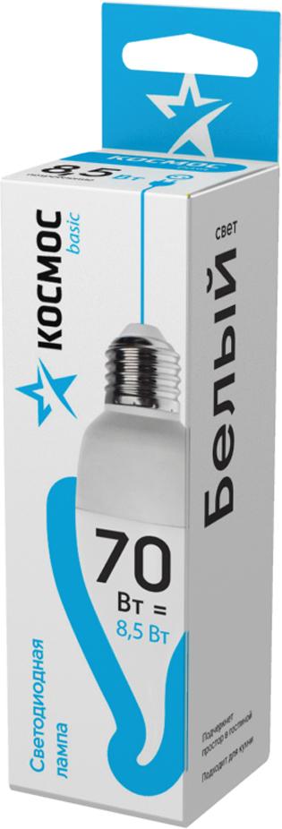 Лампа светодиодная Космос Свеча на ветру, 220V, нейтральный свет, цоколь E27, 8.5WLkecLED8.5wCWE2745Декоративная светодиодная лампа-свеча на ветру 8.5 Вт серии Космос BASIC является аналогом лампы накаливания 70 Вт. В основе лампы используются чипы от мирового лидера Epistar, что обеспечивает надежную и стабильную работу в течение всего срока службы (25 000 часов). До 90% экономии энергии по сравнению с обычной лампой накаливания (сопоставимы по размеру); стабильный световой поток в течение всего срока службы; экологическая безопасность (не содержит ртути и тяжелых металлов); мягкое и равномерное распределение света повышает зрительный комфорт и снижает утомляемость глаз; благодаря высокому индексу цветопередачи свет лампы комфортен и передает естественные цвета и оттенки; инструкция по эксплуатации и гарантийный талон - в комплекте.