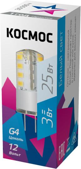 Лампа светодиодная Космос Стандарт, 12V, нейтральный свет, цоколь G4, 3WLksmLED3wJCG412v45Декоративная светодиодная лампа G4 3 Вт 12 В серии Космос Стандарт является аналогом лампы накаливания 25 Вт. В основе лампы используются чипы от мирового лидера Epistar, что обеспечивает надежную и стабильную работу в течение всего срока службы (30 000 часов). До 90% экономии энергии по сравнению с обычной лампой накаливания (сопоставимы по размеру); стабильный световой поток в течение всего срока службы; экологическая безопасность (не содержит ртути и тяжелых металлов); мягкое и равномерное распределение света повышает зрительный комфорт и снижает утомляемость глаз; благодаря высокому индексу цветопередачи свет лампы комфортен и передает естественные цвета и оттенки; инструкция по эксплуатации и гарантийный талон - в комплекте.