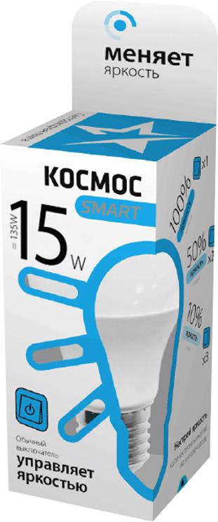 Лампа светодиодная Космос Smart, A60, 3 уровня яркости, регулируется выключателем, 220V, нейтральный свет, цоколь E27, 15WLksmLEDSD15wA60E2745Умная светодиодная лампа КОСМОС SMART стандарт А60 15 Ватт имеет 3 уровня яркости: 100%, 50% и 10% и интенсивность освещения меняется обычным выключателем без использования светорегулятора или диммера, позволяя создавать выбранную атмосферу комфортного освещения просто включив и выключив свет.Частые включения и выключения не влияют на срок службы лампы, за счет регулировки яркости снижается потребление энергии. Умный модуль управляющий светом производится по лицензии Philips, что гарантирует стабильный световой поток в течение всего срока службы.Благодаря алюминиевому цилиндрическому радиатору достигается высокий уровень надежности и срок службы лампы. Интеллектуальный драйвер обеспечивает отсутствие пульсации, мерцания, перегрева и скачков напряжения. Матовый рассеиватель обеспечивает мягкое и равномерное распределение света, что повышает зрительный комфорт и снижает утомляемость глаз. Широкий угол рассеивания, высокий индекс цветопередачи планарных SMD светодиодов - это наиболее благоприятная зона затенения, яркость и эффективность, высокая контрастность, предметы в освещении получают естественные цвета и оттенки.Умная лампа повторяет форму и размеры стандартных ламп накаливания и предполагает использование в любых светильниках, любых типах потолков, в различных помещениях, в том числе детских комнатах.При производстве используются высокотехнологичные современные материалы, что гарантирует прочность, надежность и безопасность использования, в том числе и экологическую, так как не содержит компонентов, вредных для здоровья человека и окружающей среды и не нуждаются в утилизации. Лампа не нагревается, не перегружает сеть при пуске, устойчива к механическим воздействиям, вибрациям, перепадам температур.Инновационная упаковка содержит полную информацию о модели; инструкция по эксплуатации и гарантийный талон - в комплекте.