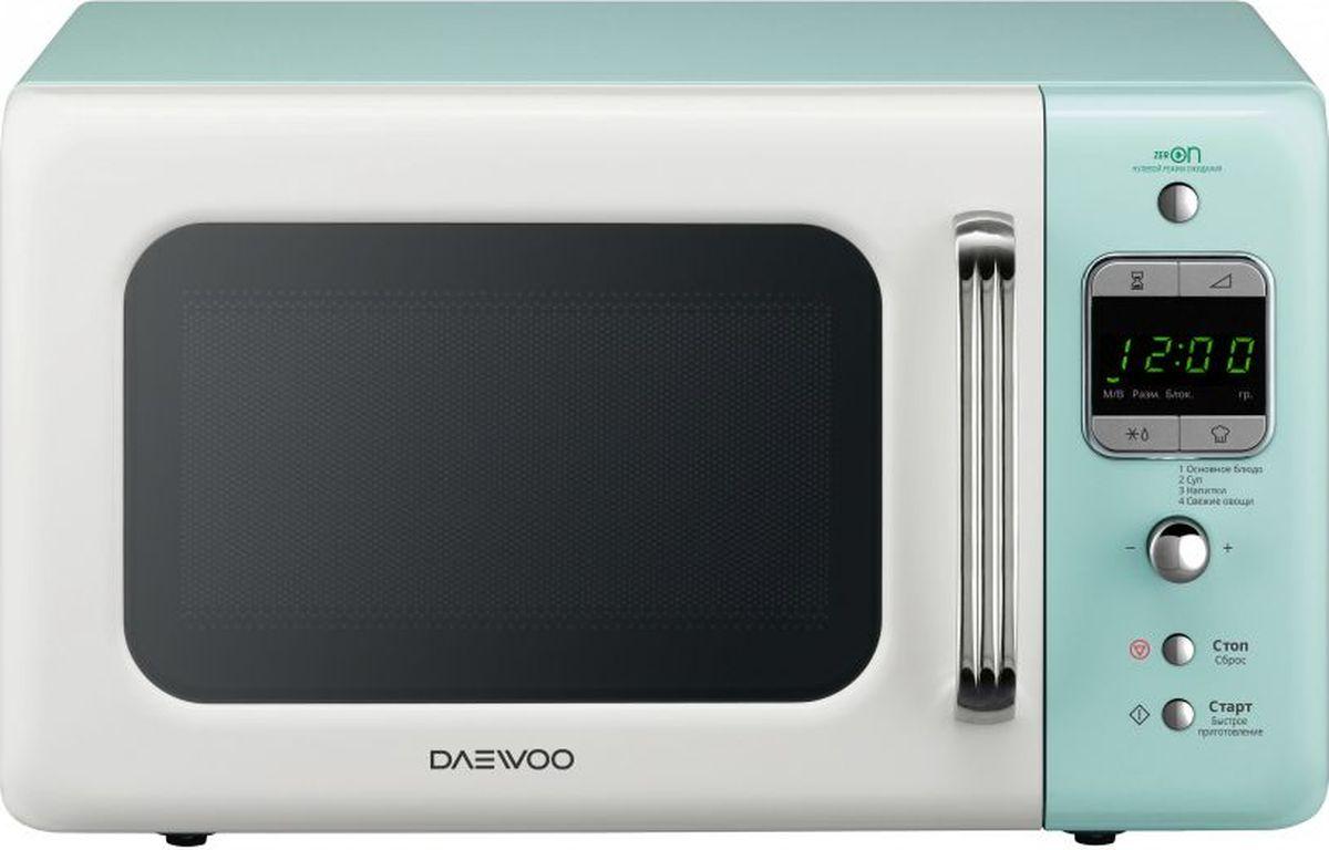 Daewoo KOR-6LBRWM, Blue White микроволновая печьKOR-6LBRWM20 л, соло, мощность - 800Вт, электронное управление, 5 уровней мощности, быстрое приготовление - 4 меню, внутреннее покрытие - акри л, система вогнутых отражателей, открытие дверцы -ручка, цвет - бело-голубой