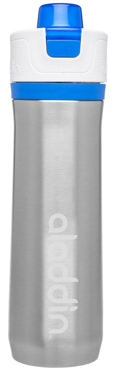 """Стильная бутылка для воды Aladdin """"Active"""" изготовлена из материала Tritan, не  сохраняющего запахи, прочного к ударам и  не взаимодействующего с напитками при повышении температуры. Изделие  оснащено герметичной крышкой и пластиковым держателем для переноски. С  помощью курсора можно выставить дневной расход воды.  Употребление достаточного количества жидкости -  важная  часть спортивного режима. Благодаря эргономичной  форме  эту бутылку удобно носить в руках.  Можно мыть в посудомоечной машине."""