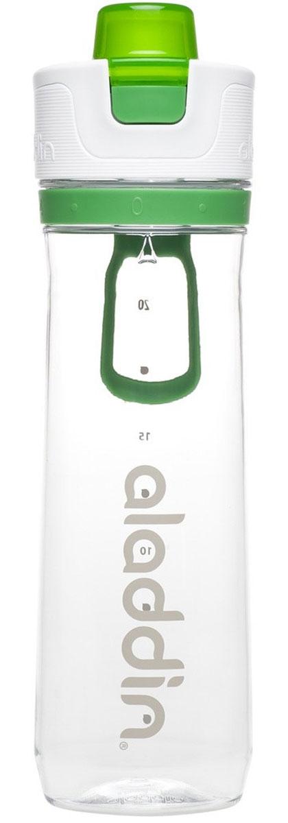 Бутылка для воды Aladdin Active, цвет: зеленый, 0,8 л10-02671-004Стильная бутылка для воды Aladdin Active изготовлена из материала Tritan, несохраняющего запахи, прочного к ударам ине взаимодействующего с напитками при повышении температуры. Изделиеоснащено герметичной крышкой и пластиковым держателем для переноски. Спомощью курсора можно выставить дневной расход воды.Употребление достаточного количества жидкости -важнаячасть спортивного режима. Благодаря эргономичнойформеэту бутылку удобно носить в руках.Можно мыть в посудомоечной машине.