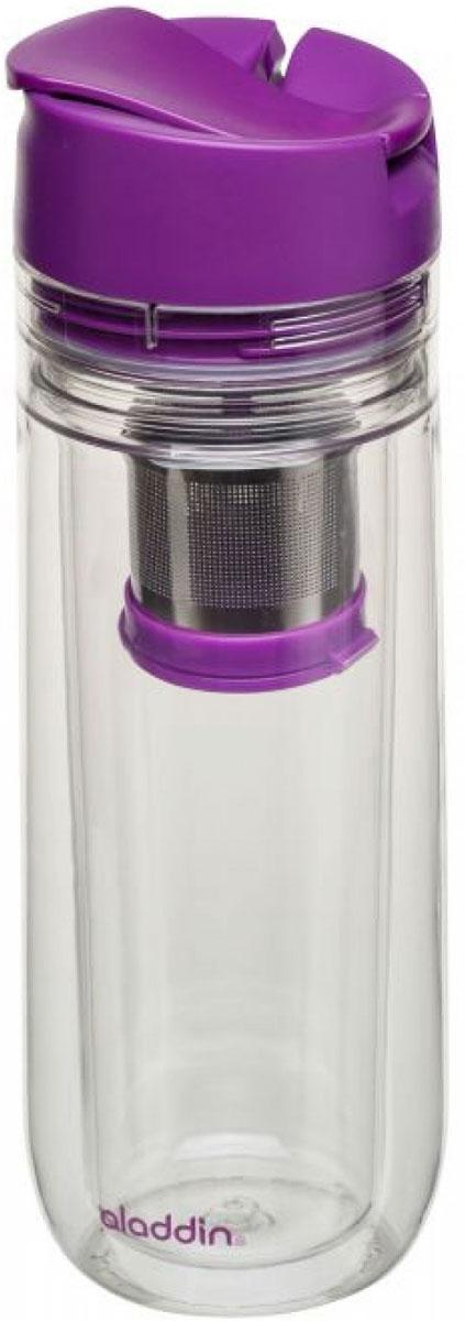 Бутылка для заваривания Aladdin, цвет: фиолетовый, 0,35 л10-01957-009Бутылка для питья с двустенной изоляцией со встроенным ситечком для заваривания листового чая из материала Tritan,не сохраняющего запахи. Для посудомоечной машины. Совместима с подстаканником автомобиля. Цвет крышки – фиолетовый.