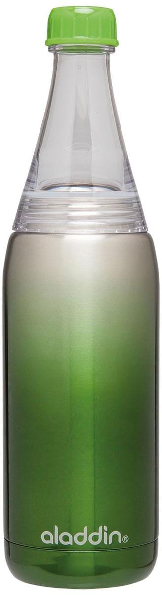 Бутылка для воды Aladdin Fresco, цвет: зеленый, 0,6 л10-02863-005Стильная бутылка для воды Aladdin Fresco, изготовленнаяиз нержавеющей стали, оснащена крышкой,котораяплотно и герметично закрывается. Совместима с подстаканникомавтомобиля. Употребление достаточного количества жидкости -важнаячасть спортивного режима. Благодаря эргономичнойформеэту бутылку удобно носить в руках.Можно мыть в посудомоечной машине.