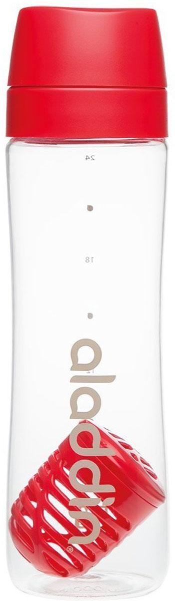 """Стильная бутылка для воды Aladdin """"Active"""" изготовлена из материала Tritan, не  сохраняющего запахи, прочного к ударам и  не взаимодействующего с напитками при повышении температуры. Изделие  оснащено герметичной крышкой и ситечком-фильтром из пластика для чая и  фруктов.  Употребление достаточного количества жидкости -  важная  часть спортивного режима. Благодаря эргономичной  форме  эту бутылку удобно носить в руках.  Можно мыть в посудомоечной машине."""