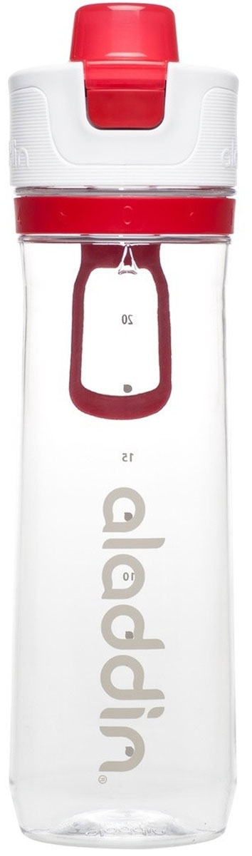 Бутылка для воды Aladdin Active, цвет: красный, 0,8 л10-02671-003Стильная бутылка для воды Aladdin Active изготовлена из материала Tritan, несохраняющего запахи, прочного к ударам ине взаимодействующего с напитками при повышении температуры. Изделиеоснащено герметичной крышкой и пластиковым держателем для переноски. Спомощью курсора можно выставить дневной расход воды.Употребление достаточного количества жидкости -важнаячасть спортивного режима. Благодаря эргономичнойформеэту бутылку удобно носить в руках.Можно мыть в посудомоечной машине.