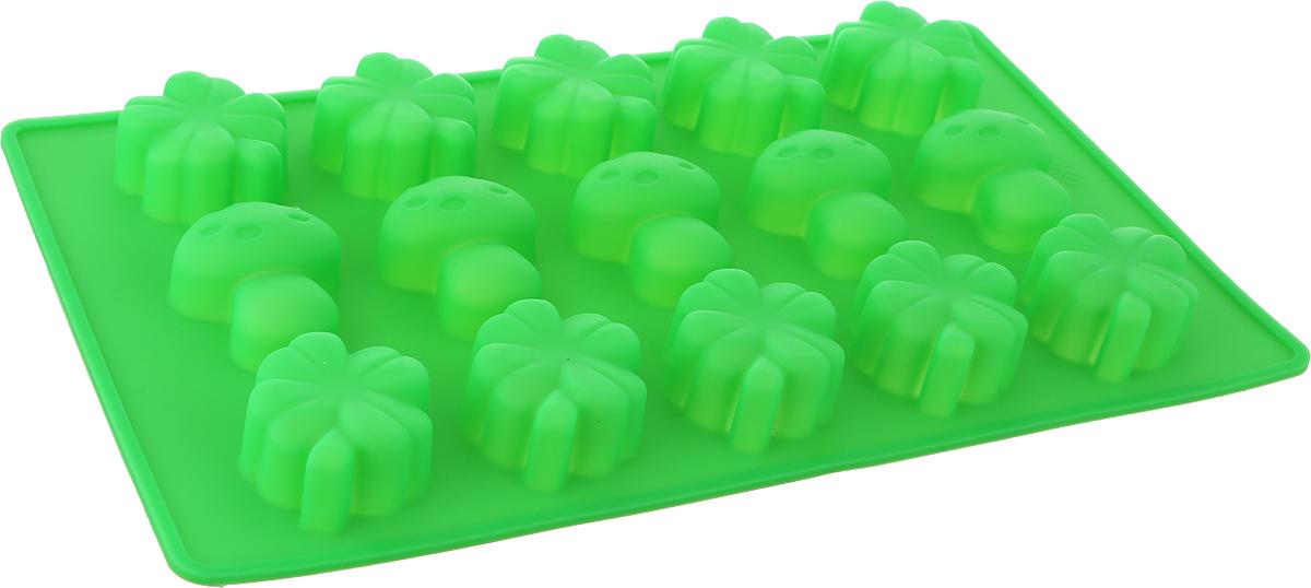 Форма для выпечки Доляна Грибочки, цвет: зеленый, 15 ячеек, 17 х 29 х 2 см nillkin protective matte plastic back case w screen protector for iphone 6 4 7 golden