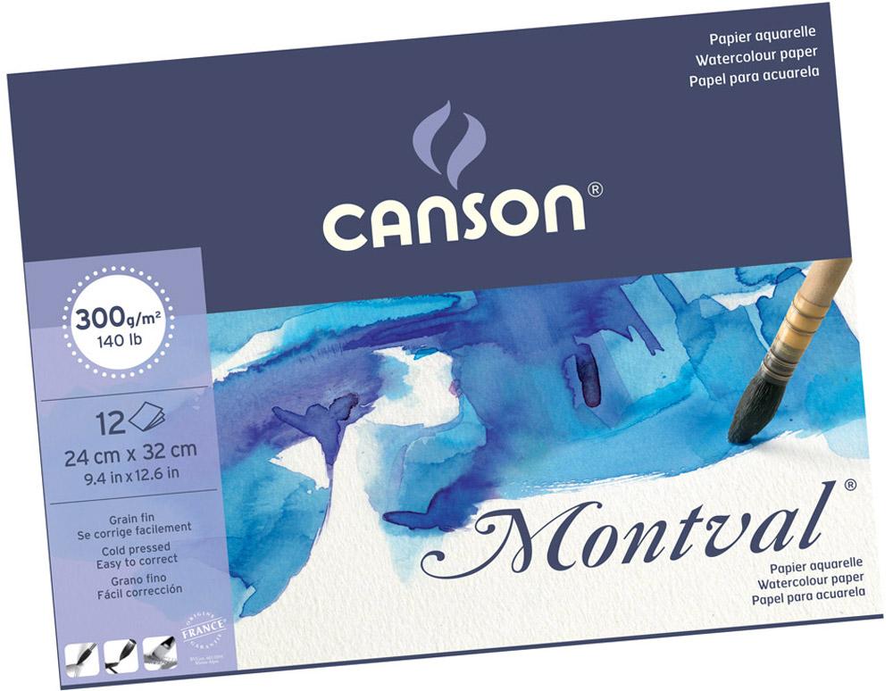 Canson Альбом для акварели Montval 24 х 32 см 300 г/м2 12 листов -  Бумага и картон
