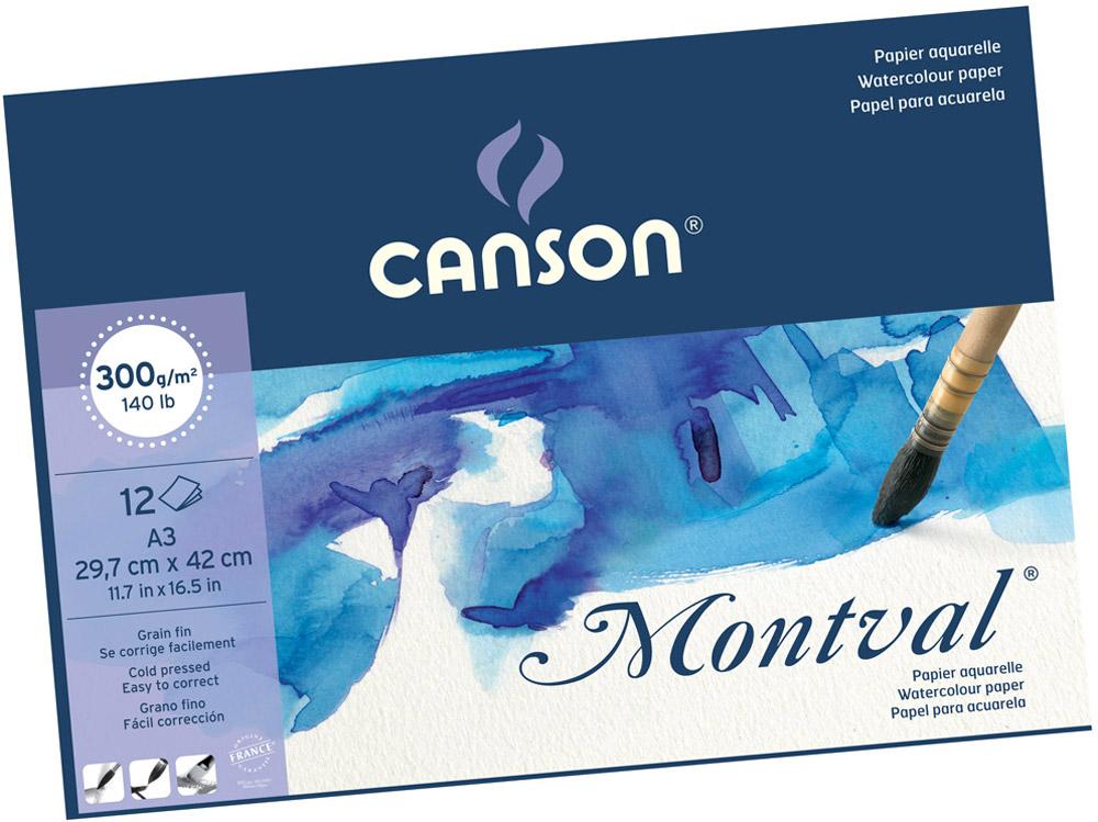 Canson Альбом для акварели Montval 29,7 х 42 см 300 г/м2 12 листов200807320Бумагадля акварели Canson Montval сделана из 100% высококачественной целлюлозы, онабеcкислотная, очень долговечная и неиспорченнаяотбеливателями.Подходит для любых «мокрых» техник живописи (акварель, акрил, гуашь).Имеет водяные знаки.Соответствует международному стандарту ISO 9706, не содержиткислот, производится без применения оптическихотбеливателей, устойчива к плесени.Фактура бумаги Фин (Среднее зерно/Cold pressed/Medium grain/Fin). Размер листа 24 х 32 см -формат А3, склейка по короткой стороне. Плотность бумаги 300 г/м2.