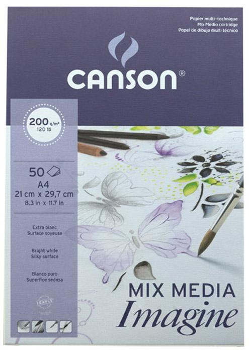 Canson Альбом для графики Imagine 21 х 29,7 см 50 листов200006008Бумага в альбоме на ощупь имеет шелковистую текстуру и чистый белый цвет для создания превосходного контраста. Позволяет работать всамых разнообразных техниках: сухих, влажных, таких как гуашь или акварель. Широкий выбор форматов. Альбом для графики Imagine 200г/м2, размер 21 х 29,7 см - формат А4, 50 л. Мелкое зерно, склейка по короткой стороне.