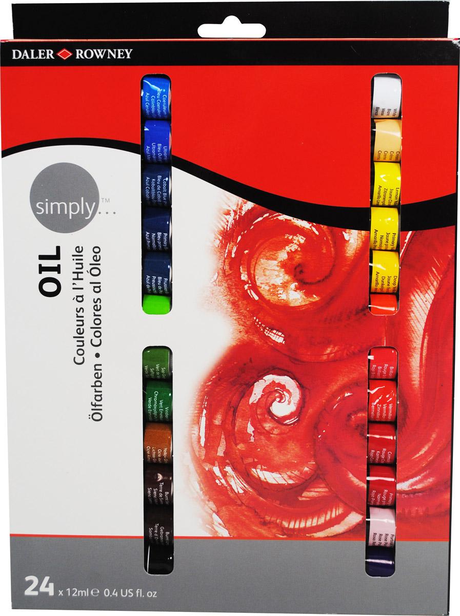 Daler Rowney Набор масляных красок Simply 24 цвета 12 мл жен ожерелья с подвесками мода перо красный синий темно зеленый 35cm ожерелье назначение праздники для улицы