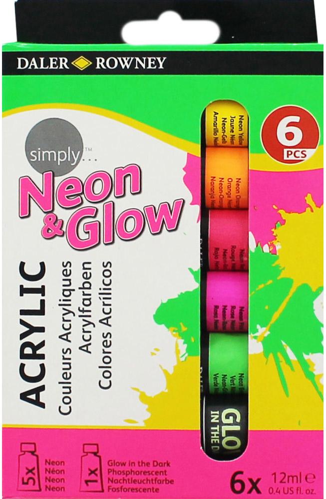 Daler Rowney Набор неоновых акриловых красок светящихся в темноте Simply 6 цветов 12 мл -  Краски
