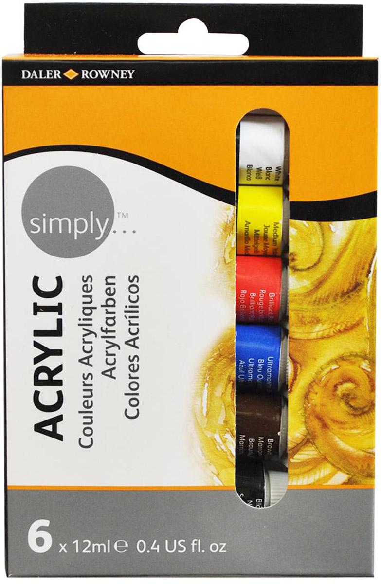 Daler Rowney Набор акриловых красок Simply 6 цветов 12 мл -  Краски